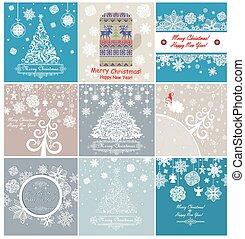 tarjetas, retro, navidad, saludo