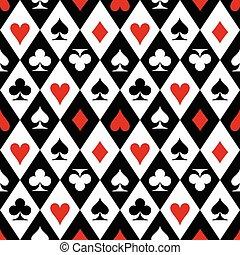 tarjetas, símbolos, traje, juego, patrón