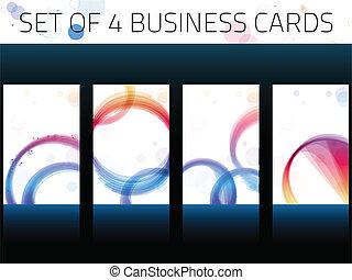 tarjetas, set., circles., empresa / negocio, colorido
