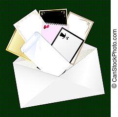 tarjetas, sobre, blanco