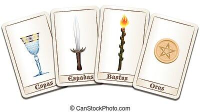 tarjetas, tarot, etiquetado, español