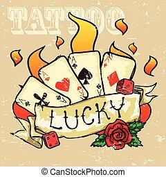 tarjetas, tatuaje, póker, diseño