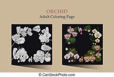 tarjetas, trópico, orchid., flor, -