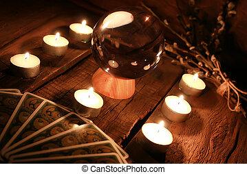 tarjetas, vela, adivinación, tarot