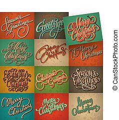 tarjetas, vendimia, conjunto, navidad, vector