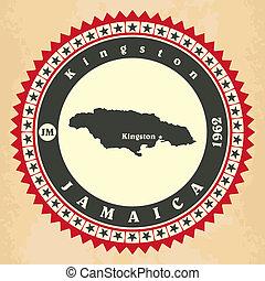 tarjetas, vendimia, jamaica., label-sticker