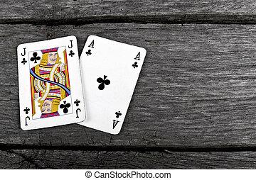 tarjetas, vendimia, madera, viejo, veintiuna