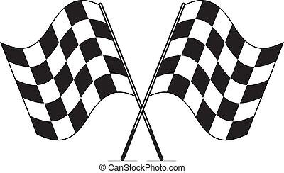 tarka, clipart, vektor, keresztbe tett, zászlók, fehér, versenyzés, fekete