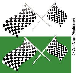 tarka, editable, hullámzás, vektor, keresztbe tett, flags., versenyzés