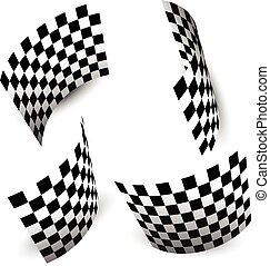 tarka, elszigetelt, lobogó, (chequered), fehér, versenyzés