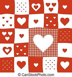 tarka, motívum, piros, piros, fehér, kártya
