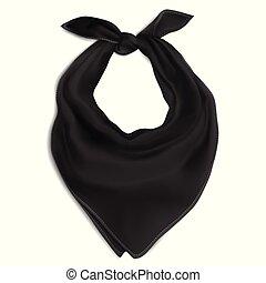 tarka selyemkendő, fekete, nyak