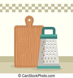 tarka, sprzęt, cięty, deska, ikona, kuchnia