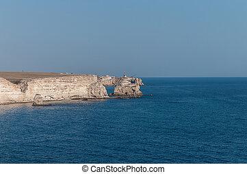 Tarkhankut Peninsula, Black sea, Crimea. Rocky cliffs and sea views. Beautiful views of Crimea.