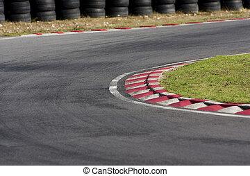 tarmac, トラック, レース, 空, コーナー