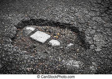 tarmac, 大きい, ベルギー, 穴, 道