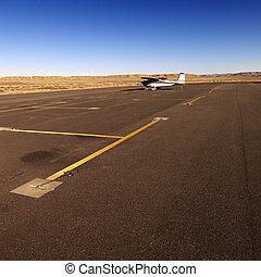 tarmac, piccolo aereo, aeroporto.