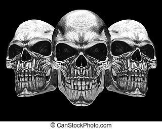 Tarnished silver vampire skulls