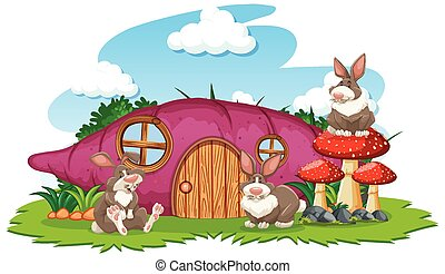 Taro house with three rabbit cartoon style on white background