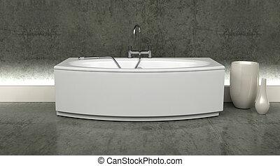 tarokk, render, belső, zápor, 3, fürdőkád, kortárs, modern, attatchment