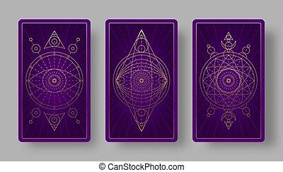 tarot, セット, 神秘主義である, symbols., 背中, カード