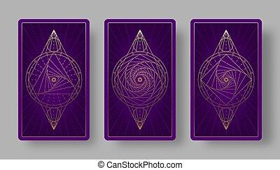 tarot, セット, symbols., 背中, 幾何学的, カード