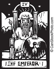 Tarot Card Emperor - Woodcut image of the Tarot Card for the...