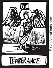 Tarot card for Temperance - Woodcut style Tarot card for the...