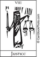 Tarot Card Justice - Woodcut expressionist style Tarot Major...