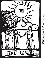 Tarot Card Lovers - Woodcut image of the Tarot Card for the...