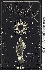 Tarot card with hand and sun. Magical boho design with stars, engraving stylization, witch cover in vintage design. Golden mystical hand drawing on black background.