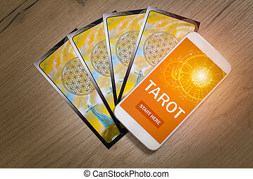 Tarot cards and mobile phone - Tarot cards and smartphone...