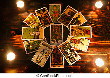 tarot cards for tarot readings psychic as well as divination with candle light - fortune teller reading future or former and present