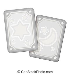 Tarot cards icon in monochrome style isolated on white background. white magic symbol stock vector illustration.