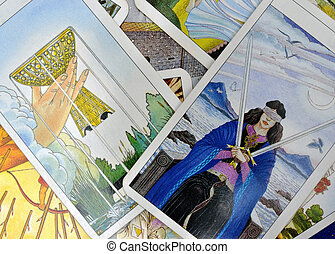 Tarot Cards - Some tarot cards on table with blind women...