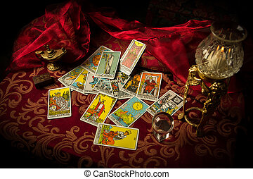 Tarot Cards Spread and scattered on Table Haphazardly - A...