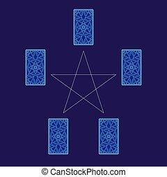 Tarot cards spread with pentagram. Reverse side