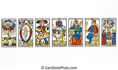 tarot, empate, tarjeta
