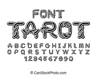 Tarot font. Traditional ancient manuscripts Celtic alphabet. norse medieval ornament ABC.