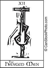 tarot, hanged, karte, mann