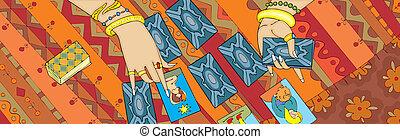tarot, lectura, bandera, mano de la tarjeta