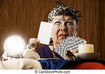 tarot, leer, karte, zigeuner