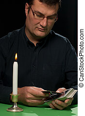 Tarot reader in full concentration about to start spreading...