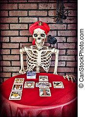 Tarot Reading Skeleton - A skeleton doing a Tarot card...