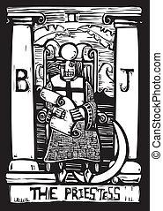 tarot, sacerdotisa, tarjeta