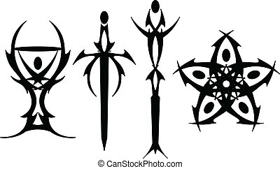 Tarot tattoo symbols - Black Tarot symbols rendered in...