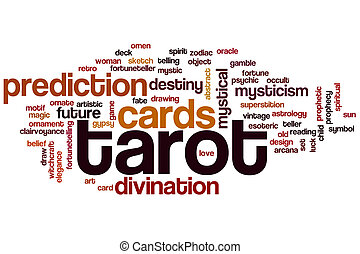 Tarot word cloud concept with cards divination related tags
