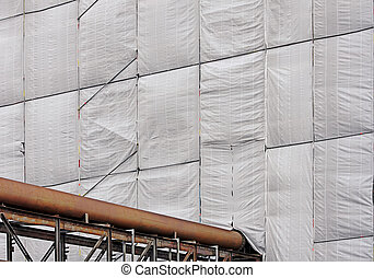 tarpaulin on a building