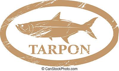 Tarpon. - Tarpon in grunge stamp effect.