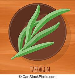 Tarragon flat design vector icon.